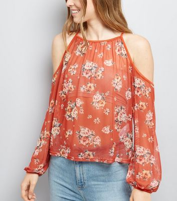 Brown Floral Print Mesh Cold Shoulder Top