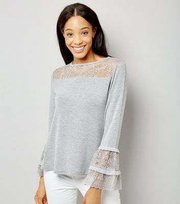 Blue Vanilla Grey Lace Frill Sleeve Top