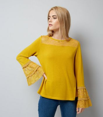 Blue Vanilla Yellow Lace Frill Sleeve Top