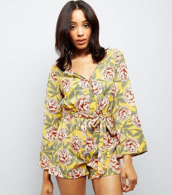Yellow Floral Print Flare Sleeve Playsuit