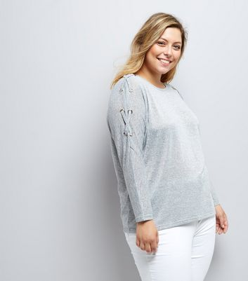 Curves Grey Eyelet Batwing Jumper