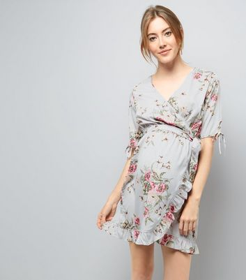 Maternity Grey Floral Print Frill Trim Dress