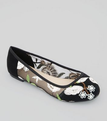 Wide Fit Black Sheer Floral Embroidered Ballet Pumps
