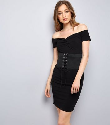 Pink Vanilla Black Corset Belt Bardot Dress