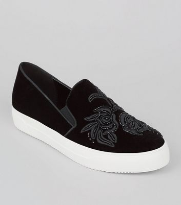 Black Velvet Floral Embroidered Plimsolls