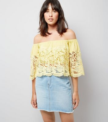 Blue Vanilla Yellow Lace Bardot Neck Top