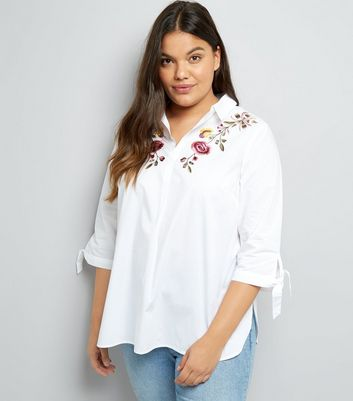 Curves White Floral Embroidered Shirt