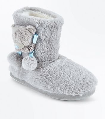 Teens Grey Faux Fur Slipper Boots
