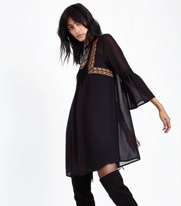 Black Embroidered Bell Sleeve Smock Dress