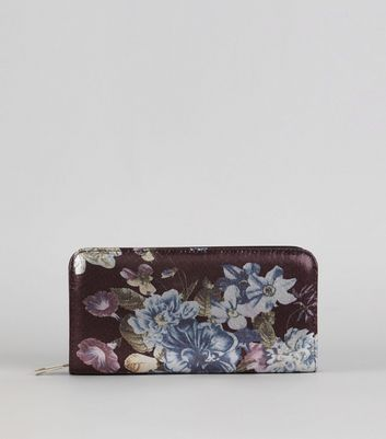 Black Digital Floral Print Purse
