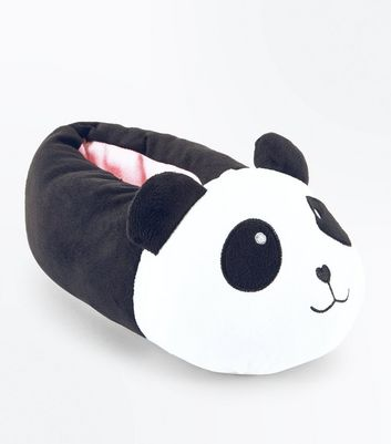 Teens Black Faux Fur Panda Slippers