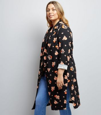 Curves Black Floral Print Duster Coat