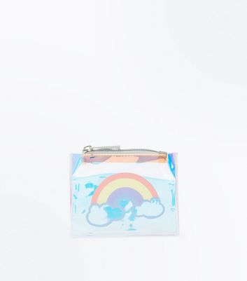 Rose Gold Transparent Rainbow Zip Top Purse