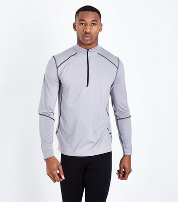 Grey Mesh Long Sleeve Sports Top