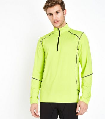 Yellow Mesh Long Sleeve Sports Top