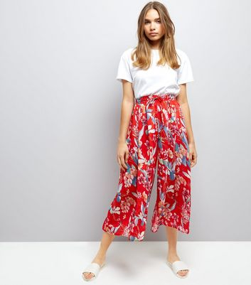 Red Floral Print Wide Leg Cropped Trousers