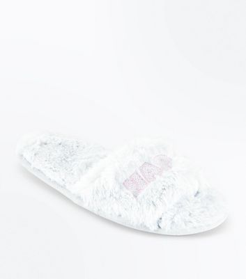 Teens Grey Nap Faux Fur Slippers