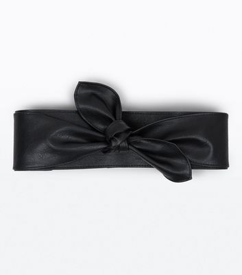 Black Bow Front Wide Belt