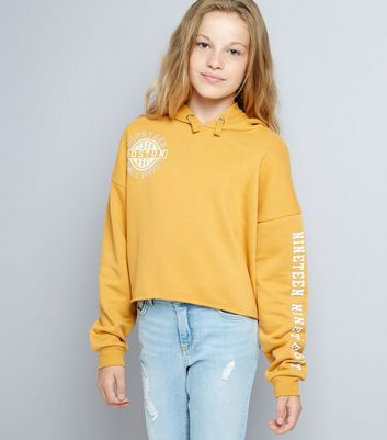 Teens Yellow Boston 1998 Slogan Print Sleeve Hoodie