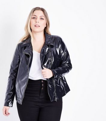 Curves Black Patent Leather-Look Biker Jacket