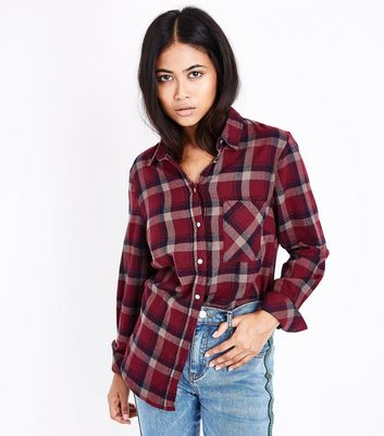 Petite Red Check Pocket Front Shirt
