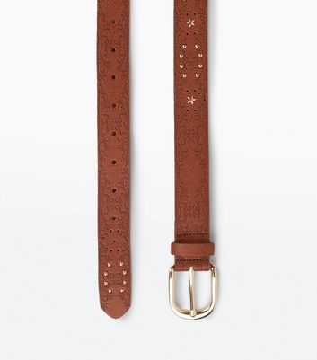 Tan Embossed Stud Detail Western Belt