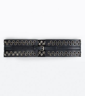 Black Eyelet Detail Buckle Corset Belt