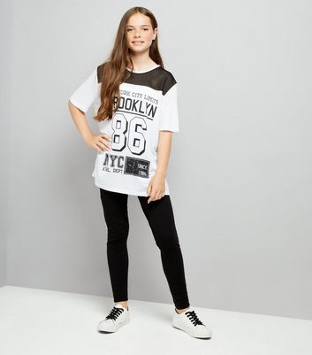 Teens Black NYC Print Leggings