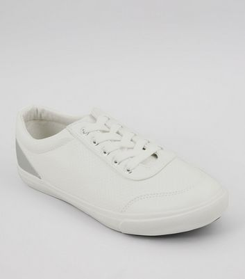 Wide Fit White Back Panel Lace Up Trainers