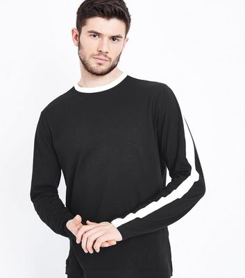 Black Stripe Side Long Sleeve T-Shirt