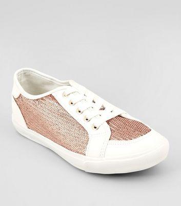 Wide Fit Rose Gold Sequin Panel Lace Up Trainers