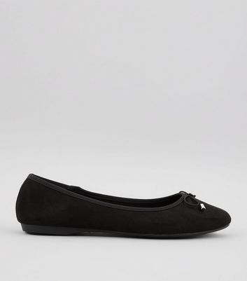 Wide Fit Black Suedette Pointed Ballet Pumps