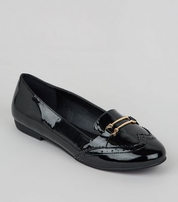 Wide Fit Black Patent Brogue Loafers