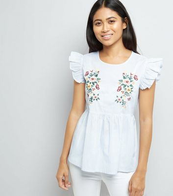 Petite Blue Embroidered Frill Sleeve Top