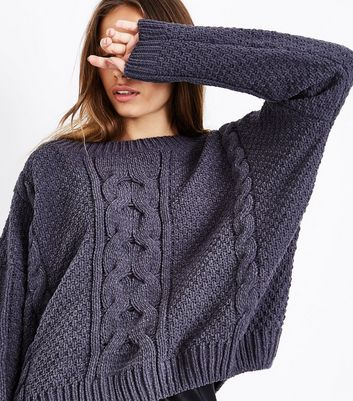 Dark Grey Chenille Cable Knit Oversized Jumper