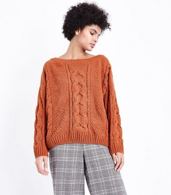 Rust Chenille Cable Knit Oversized Jumper