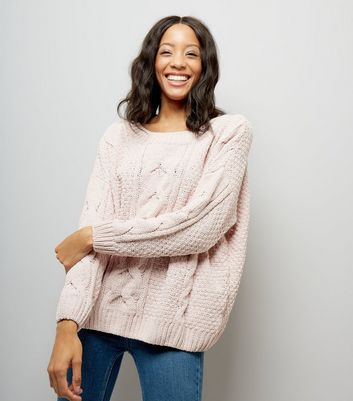 Shell Pink Chenille Cable Knit Oversized Jumper