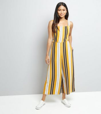 Petite Yellow Stripe Tie Back Culotte Jumpsuit