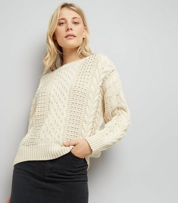 Cream Cable Knit Bead Embellished Jumper