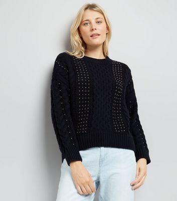 Navy Cable Knit Studded Jumper