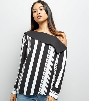 Petite White Stripe Off The Shoulder Shirt