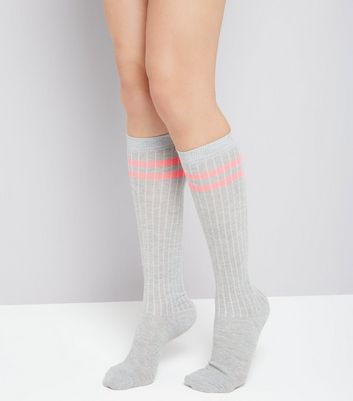 Grey Ribbed Knee High Socks