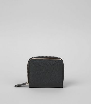 Black Textured Small Zip Around Purse