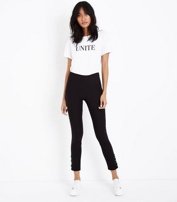 Black Eyelet Lace Up Hem Skinny Stretch Trousers