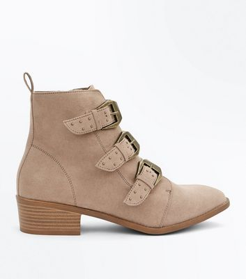 Light Brown Suedette Stud Buckle Ankle Boots
