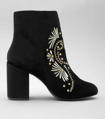 Black Floral Embroidered Velvet Ankle Boots
