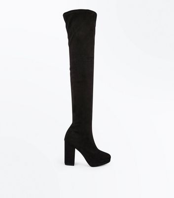 Black Suedette Platform Heel Over The Knee Boots