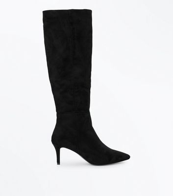 Black Suedette Knee High Kitten Heel Boots