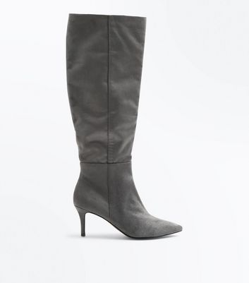 Grey Suedette Knee High Kitten Heel Boots