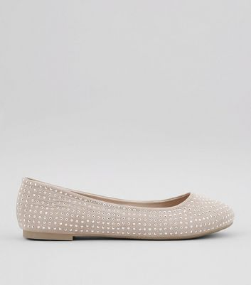 Wide Fit Cream Suedette Stud Detail Pumps